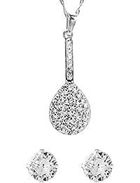 Córdoba Jewels | Conjunto de pendientes y colgante en plata de ley 925 con circonitas. Diseño Lágrima Zirconium