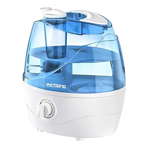 VicTsing Luftbefeuchter, Ultraschall-Luftbefeuchter mit 360°drehbare Dampfdüsen Raumbefeuchter, Effiziente Nebelausgabe, Leise Baby Humidifier für Schlaf-Haus (bis 25m²), 2L, Weiß/Blau