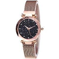 GUOYIHUA Frauen-Sternenhimmel-Uhr, Quarz-Wasserdichte Uhr-Mode-Sternenhimmel-Rhinestone-Freizeit-Uhr-Magnet-Bügel