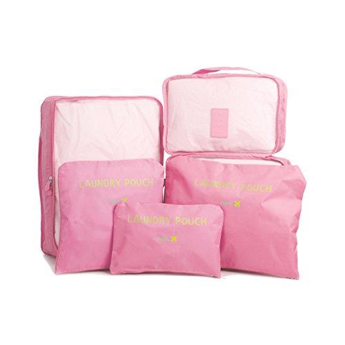 Cosihomu 6er Reise Koffer Organizer Set Kofferorganizer Gepäck Organizer wasserdichte Travel Packing Cubes Packwürfel Packtaschen Kleidertaschen Reiseorganizer in Koffer (Pink) Rosa