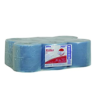 WypAll 7493 L10 Extra Wiper Centrefeed Roll Control, Blue, One Ply Sheets, Six Rolls x 525