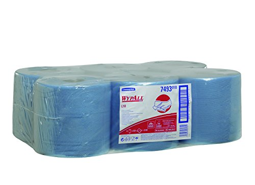 WypAll 7493 L10 Wipers, Airflex, 1-Ply, Centrefeed, 525 Sheets Roll per Box, Blue (Pack of 6)