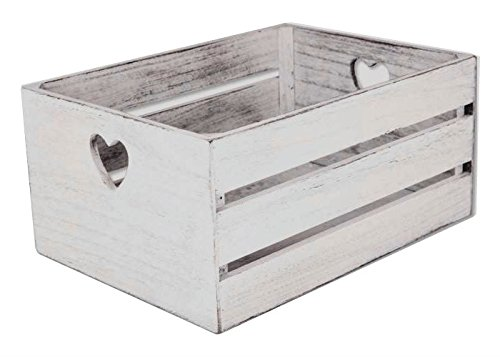Cassetta in legno shabby chic cm 28x18x14 white a cuori