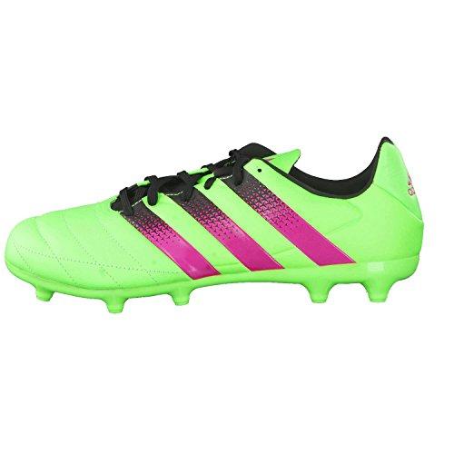 adidas Herren Ace 16.3 FG/AG Leather Fußballschuhe Grün / Pink / Schwarz (Versol / Rosimp / Negbas)