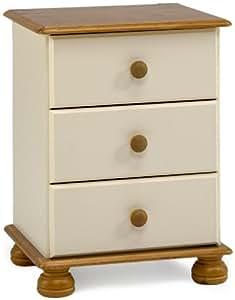 table de chevet 3 tiroirs boutons en pin cr me cuisine maison. Black Bedroom Furniture Sets. Home Design Ideas