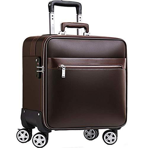 Ultra-Leicht-Leder-Reise Trage Kabine mit 4 Runden Gepäck, Flugzugelaptopfach Trolley Bag-Brown, 16inch - - Brown-leder-gepäck