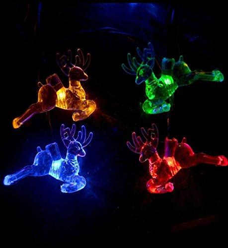 8 Light Nickel Hängen (✽ZEZKT-Home✽ 20 LED Hirsch Warm Mehrfarbig LED Lichterketten Batterienbetrieben für Weihnachten/Kinderzimmer usw Weihnachten Hirsch Deko Dekoration für Winter Advent und Weihnachten (Mehrfarbig))