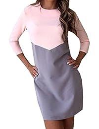 Nuovo Vestiti Donna Casual Colore Cucitura Mini Abito Elegant Rotondo Collo  Maniche 3 4 Abiti Corto Vestito da… eb9caa793eb