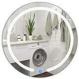 COSTWAY Badezimmerspiegel mit Beleuchtung, LED Badspiegel, Spiegel mit Licht, Lichtspiegel rund φ50cm, Wandspiegel Bad