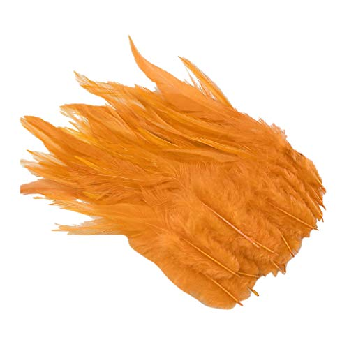 IPOTCH 50 Stück Hahnenfedern Flügel Federn Hahn Federn Pad Feather Schmuckfeder DIY Kostüm - Orange, 130-180 - Orange Feder Kostüm Flügel
