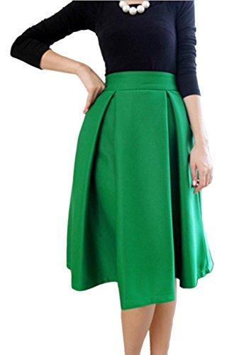 Eyekepper Gonna svasata con piegoni, a vita alta, stile vintage, tessuto resistente Green
