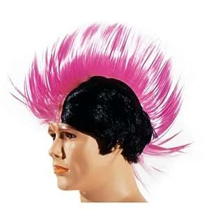 Perruque punk cheveux roses et noirs avec longue crête hérissée de pics
