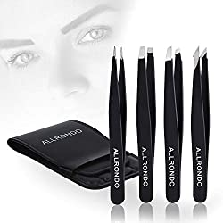ALLRONDO Premium eyebrow tweezers set with case (4 pieces) - Improved tip - Tweezers eyebrow plucking - Professional eyebrow tweezers with grip coating - Plucking tweezers for hair removal