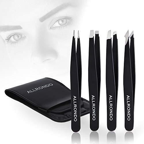 ALLRONDO Premium Augenbrauen Pinzetten Set mit Etui (4-teilig) - Verbesserte Spitze - Pinzette Augenbrauen Zupfen - Augenbrauenpinzette Profi mit Grip Beschichtung - Zupfpinzette zur Haarentfernung
