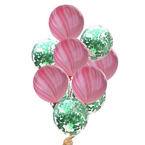 Luftballons Marmor Latex Ballon und PET Pailletten Transparente Helium Ballons für Geburtstagsfeier Hochzeit Party Valentinstag Baby-Dusche Deko 12 Zoll (Rosa und Grün) ()