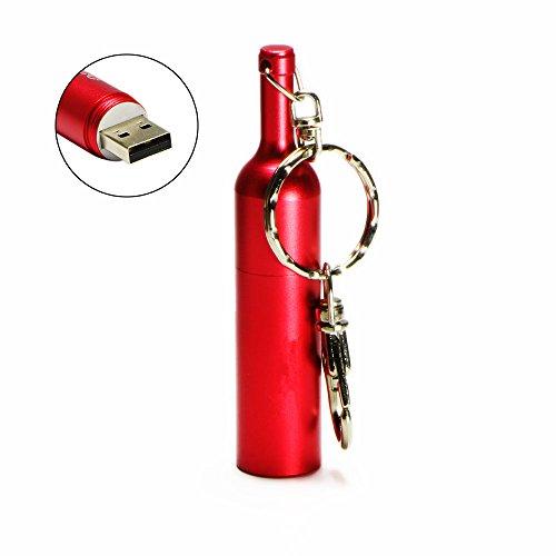 Shooo 16GB Metall Glatt Weinflasche USB 2.0 Flash Drive Speicherstick with Schlüsselanhänger,Rose