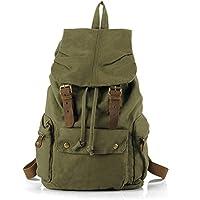 Uomo Donna Vintage Tempo libero Moda Canvas Escursionismo Viaggi militare zaino Messenger Tote Bag Video Portatile Custodia Outdoor Living Fashion Bag Student Schoolbag Size 30*48*15CM (verde)