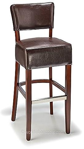 Genova Bar Stool Brown Leather &