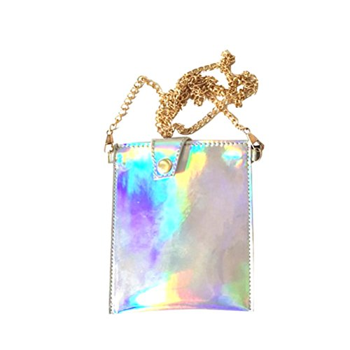 LUOEM Mini sac à main hologramme sac à bandoulière à main portefeuille holographique sac portable PU, avec chaîne taille L
