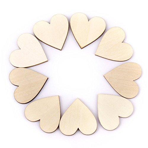Outflower Dekorative Herzen aus Holz, 20 mm, 100 Stück, für Hochzeiten, Bastelprojekte -