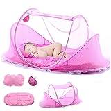 Babyzelt Reisebett - Reisebett Baby Anti Mosquito - Reisebettzelt mit Moskitonetz, Matratze, Baumwollkissen und Musikpaket - Babyzelt Faltbett - Rosa