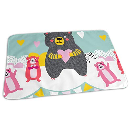 Bear And Guinea Pigs Party Bunting Fun Kids Design Retro Bold Love Hearts Spots Modern Baby Portable Reusable Changing Pad Mat 19.7x 27.5 inch