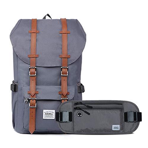 """KAUKKO Rucksack Damen Herren 17 Zoll Backpack für 15"""" Notebook mit Bauchtasche für Reisen/Fahrrad/Konzertgelände (Ep5-grey-Set)"""