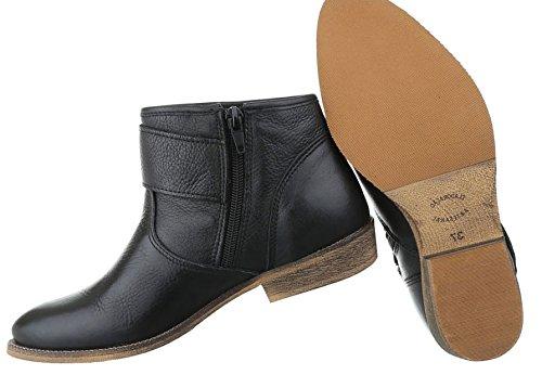 Damen Stiefeletten Schuhe Stiefel Leder Chelsea Boots Schwarz Beige Grau 36 37 38 39 40 41 Schwarz