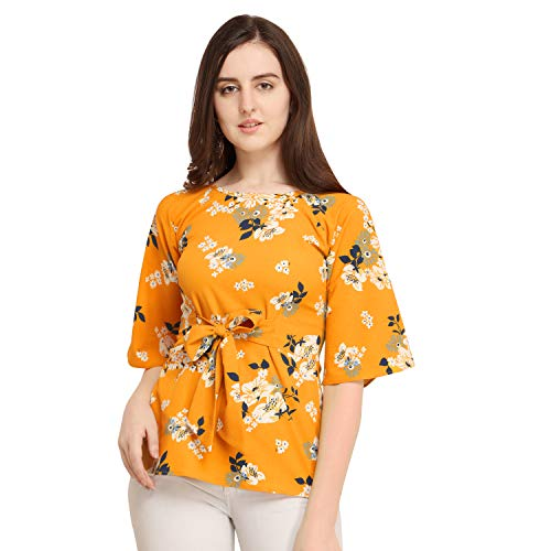 J B Fashion Women's Plain Regular fit Top (DESIGN-137-S_Yellow_Small)