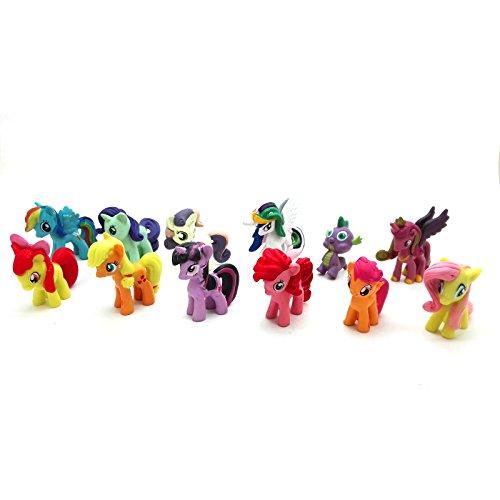 ONOGAL Unicornios mi Pequeño Poni my Little Pony Coleccion DE 12 Personajes Figuras PVC Spike Rarity Twilight Sparkle 4731