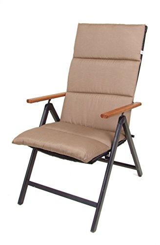 Polster Auflage für Hochlehner - Sitzkissen in braun - Gartenstuhlauflage Stuhlkissen