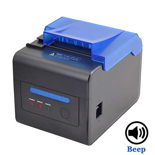 [Cubierta Protectora] Impresora Térmica 300 mm/Sec 80mm / Receipt Ticket Impresión/Interfaz USB/Serial/LAN Impresora de Cocina Profesional con Tapa