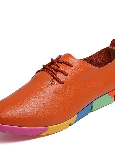 ZQ Scarpe Donna-Stringate-Ufficio e lavoro / Casual-A punta-Piatto-Di pelle-Nero / Blu / Bianco / Arancione , orange-us9 / eu40 / uk7 / cn41 , orange-us9 / eu40 / uk7 / cn41 white-us6.5-7 / eu37 / uk4.5-5 / cn37