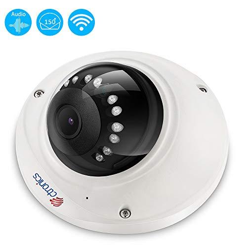 (Fisheye)Ctronics Überwachungskamera Wlan IP Kamera Indoor, 150u00b0 Weitwinkel Wlan Dome Kamera 720P mit Micphone, Nachtsicht, Bewegungserkennung, Email Alarm, Fernzugriff
