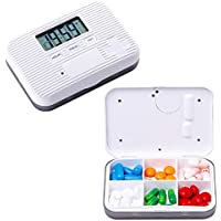 Pillen Kiste, Intelligentes Timing + Digitaler Sprach Alarm, Mit Zeit Mahnung, Mini Portable Carry-On (Grau-6... preisvergleich bei billige-tabletten.eu