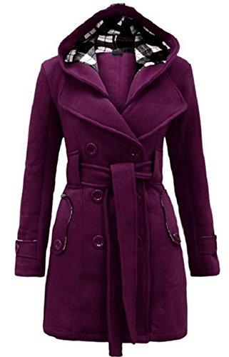 Vogue of Eden Women's Hooded Wide Lapel Neck Trench Coat with Belt Grey