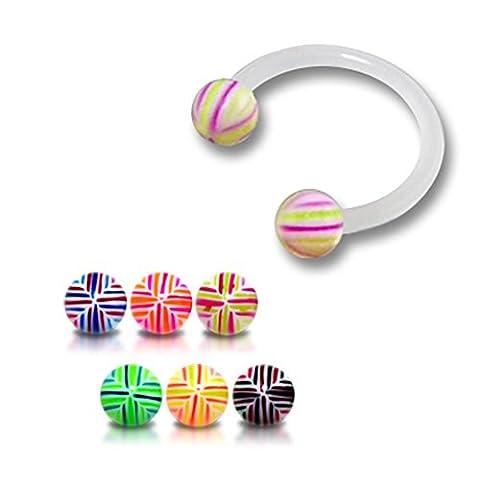 Bijou Piercing Labret circulaire pour lèvres 16Gx5/16 (1.2x8MM) Bioflex avec Boule UV multi croix 3MM Lot de 10 pièces couleurs assorties