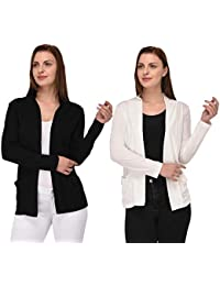 1d58a3973de Espresso Women s Full Sleeve Front Open Viscose Shrug Cardigan with Pocket  - Pack of 2