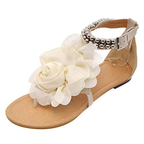 iLPM5 Damen Sommer Böhmen Stil Flachen Sandalen Blumen Gürtelschnalle Klippzehe Runde Kappe Flache Freizeit Sandalen Schuhe(Beige,43) Jeweled Slingback