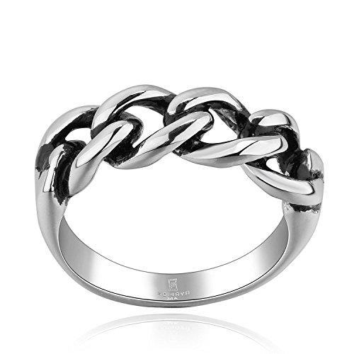 Lureme® Annata Antico Maya Stile Acciaio inossidabile Celtic Knot Argento Band Anello for Unisex (04001074-parent)