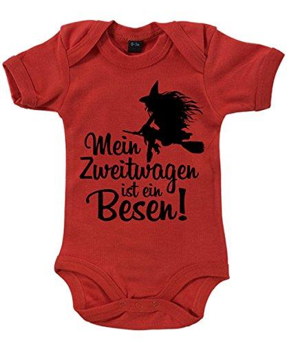-- Mein Zweitwagen ist ein Besen! -- Babybody Rot, Größe 3/6 Monate (Mädchen Glitzer-baby-tee)