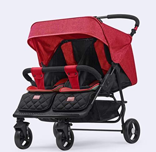 ZUCAI Kinderwagen - Twin Kinderwagen Doppel kann sitzen liegend Falten Licht Baby BB Auto für 0~3 Jahre altes Baby Nettogewicht 12,8 kg entfalten Größe: 80 × 75 × 105 cm (Color : Red)