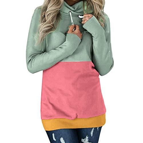Langarm Kapuzenpullover Sweatshirt Kapuze Hoodie Herbst Winter Crop top Pullover T-Shirt Bluse Tops Kleid Mode Casual Color Block Langarm Sweatshirt Jumper Pullover Bluse ()