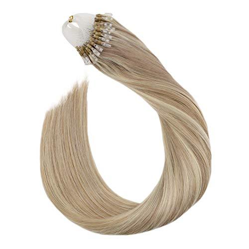Ugeat 50g 60cm micro ring estensione capelli veri tessitura umana capello ombre human hair extension marrone pianoforte colore cenere al biondo #p18/613