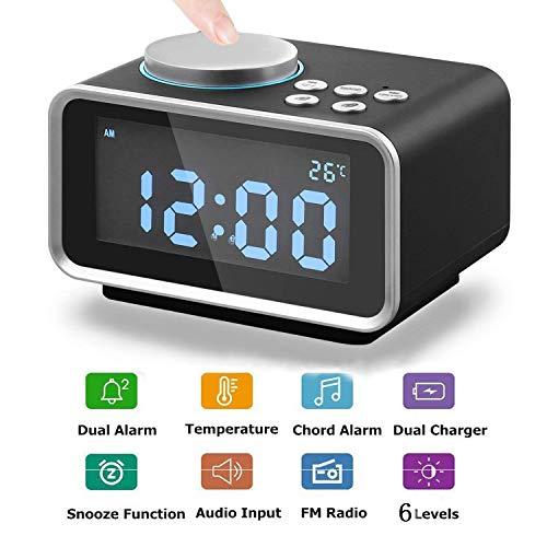 Radiowecker mit Wecker, Digitalwecker Radio Luxacury Multifunktions-Radiowecker mit Dual-USB-Ladegerät, FM-Radio, Innenthermometer, Snooze-Funktion, LED-Anzeige