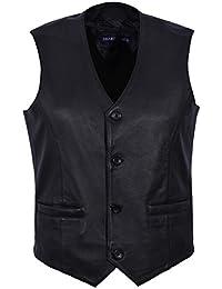 Hombres Nuevo 5226 Moda de fiesta con estilo Negro Diseñador Genuino Clásico Real Chalecos de piel de cordero