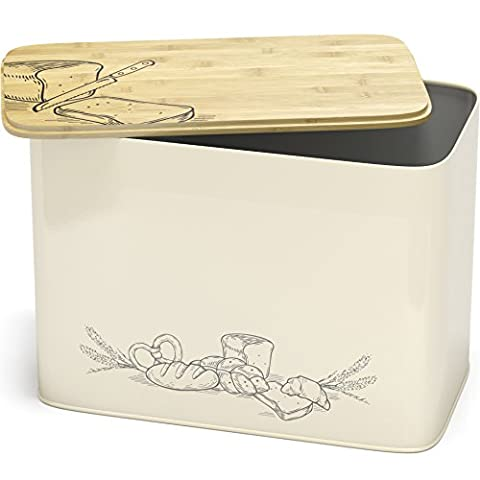 Space Saving Large Vertical Bread Box Bin With Eco Bamboo Cutting Board Lid