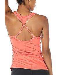 icyzone Damen Yoga Sport Top Lang - Fitness Gym Laufen Shirt Running  Tanktop Vest 3c80e45fd9