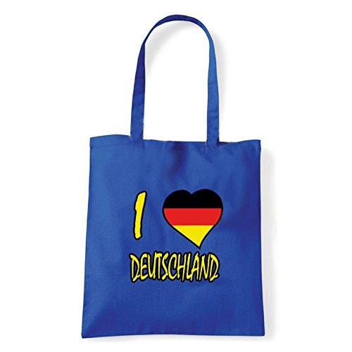 Art T-shirt, Borsa Shoulder I Love Deutschland, Shopper, Mare Blu