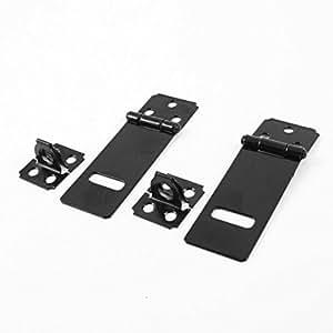 DealMux 2 Set Tür Safety Lock Black Metal Vorhängeschloss Staple 73mm lang eingestellt